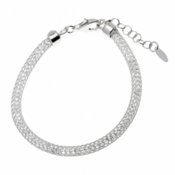 Bracelet en argent rhodié, maille tricot et cristaux de synthèse