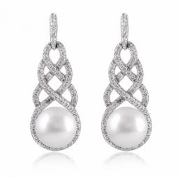 Boucles en argent rhodié, perle de culture et oxydes de zirconium
