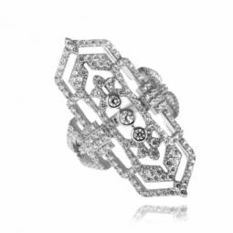 Bague en argent rhodié, oxydes de zirconium