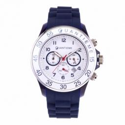 Chronographe homme, boîte en plastique, bracelet silicone et verre minéral