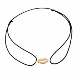 Bracelet en or jaune, cordon, bouche