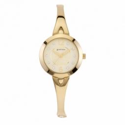 Montre femme, boîte acier doré et cristaux de synthèse, bracelet acier doré et verre minéral
