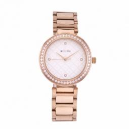 Montre femme, boîte acier doré rose et cristaux de synthèse, bracelet acier doré rose et verre minéral