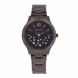 Montre femme, boîte acier noir et cristaux de synthèse, bracelet acier noir et verre minéral