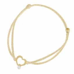 Bracelet en or jaune, cordon doré, coeur ajouré oxyde de zirconium