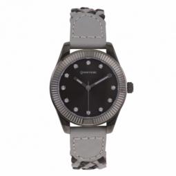 Montre femme, boîte acier noir et cristaux de synthèse, bracelet cuir et verre minéral
