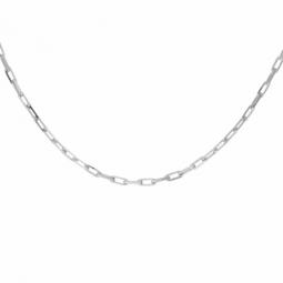 Chaine en or gris, maille forçat clair diamanté