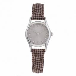 Montre femme, boîte acier et cristaux de synthèse, bracelet tissu et cuir et verre minéral