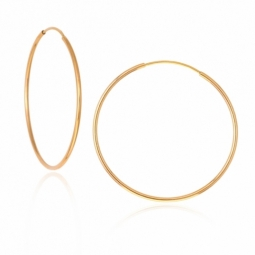 Créoles en or jaune, fil 1,2 mm, diamètre 30 mm