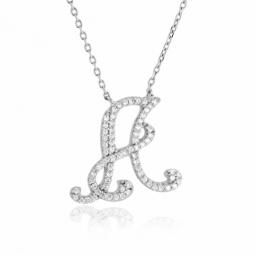 Collier en argent rhodié, lettre A, oxydes de zirconium