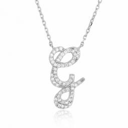 Collier en argent rhodié, lettre G, oxydes de zirconium