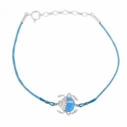 Bracelet en argent rhodié, cordon, laque et oxydes de zirconium