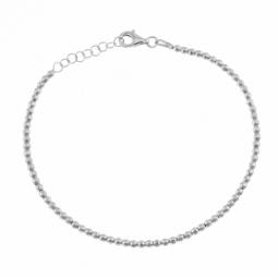 Bracelet en argent rhodié, boules facetées