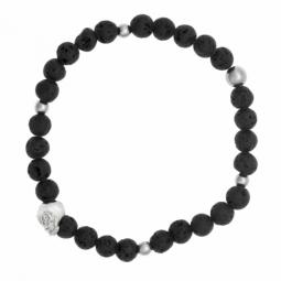 Bracelet en acier, pierres synthétiques et cristaux de synthèse