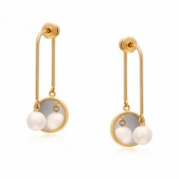 Boucles d'oreilles plaqué or, perle de culture, miroir plexiglass