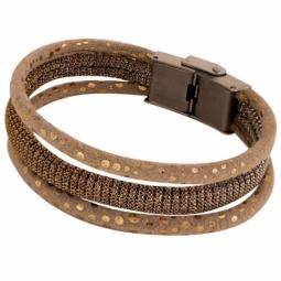Bracelet en acier, cuir et tissu