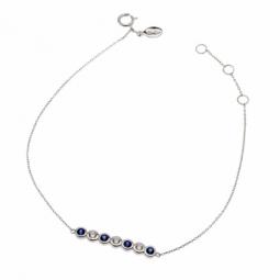 Bracelet en or gris, saphirs et diamants