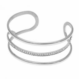 Bracelet jonc en acier et oxydes de zirconium