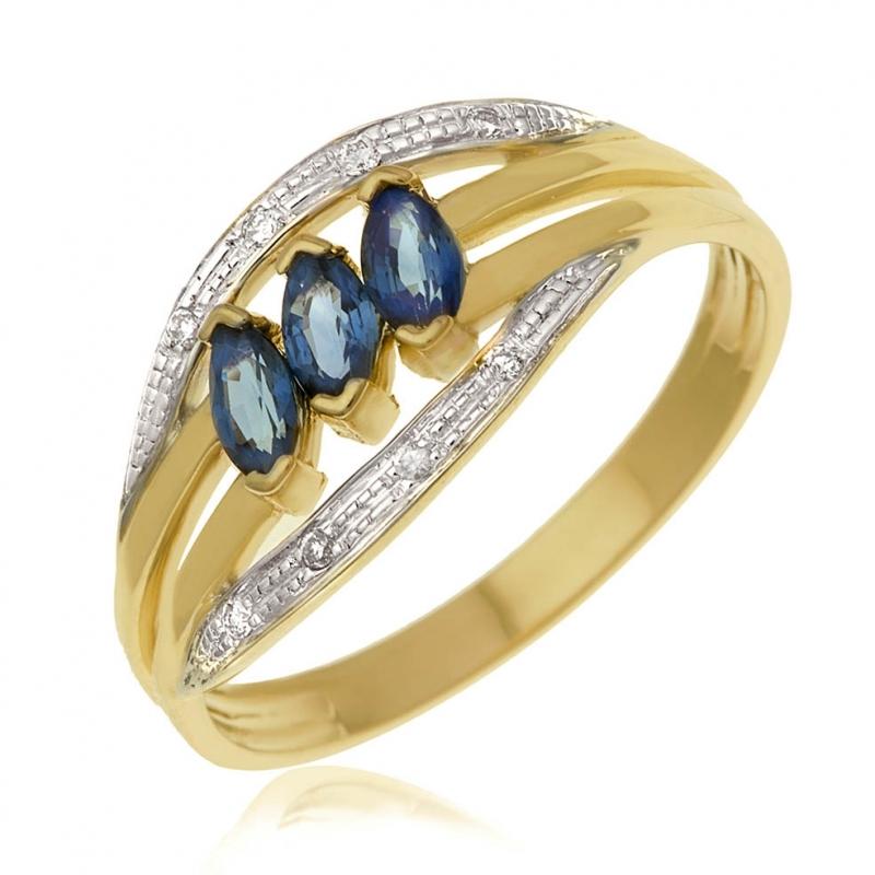 achat bague femme or rhodi 2 7 g saphir ct diamant ct le man ge bijoux. Black Bedroom Furniture Sets. Home Design Ideas