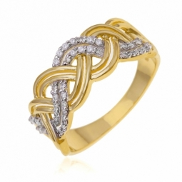 Bague en or jaune rhodié et tressée, diamants