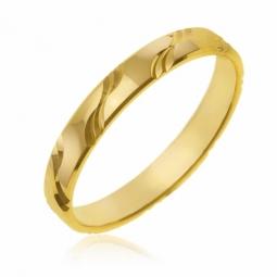 Alliance en or jaune, fantaisie vagues 3 mm