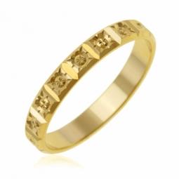 Alliance en or jaune, fantaisie 3 mm