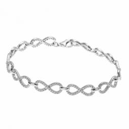 Bracelet en argent rhodié et oxydes de zirconium, infini