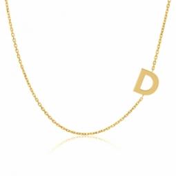 Collier en or jaune, lettre D
