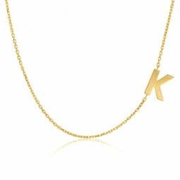 Collier en or jaune, lettre K