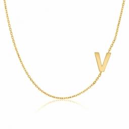 Collier en or jaune, lettre V