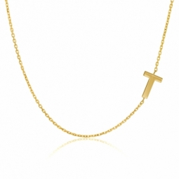 Collier en or jaune, lettre T