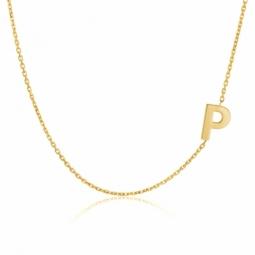 Collier en or jaune, lettre P