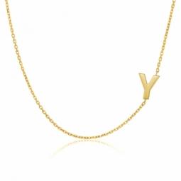 Collier en or jaune, lettre Y