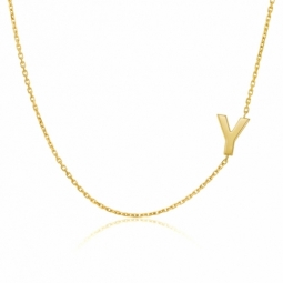Collier en or jaune, lettre Y