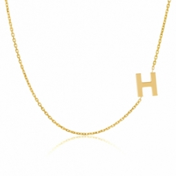 Collier en or jaune, lettre H