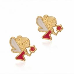 Boucles d'oreilles en or jaune avec vis, et laque, fée