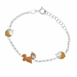 Bracelet en argent rhodié et laque, écureuil