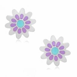 Boucles d'oreilles en argent rhodié et laque, fleurs
