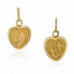 Médaille coeur en or jaune, vierge revers apparition