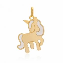 Pendentif en or jaune et laque, licorne