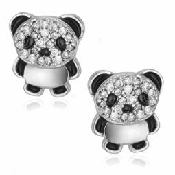Boucles d'oreilles en argent rhodié, oxydes de zirconium et laque, panda