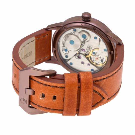 Montre homme mécanique, boîte en acier marron, bracelet en cuir et verre minéral