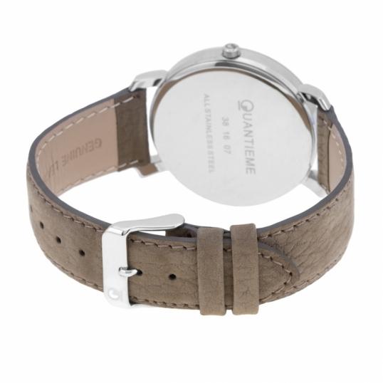 Montre homme, boîte acier, bracelet cuir et verre minéral