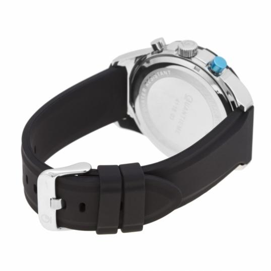 Chronographe homme étanche 50 m, boîte en acier, bracelet en silicone et verre minéral