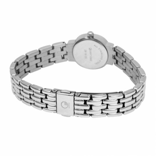 Montre femme, boîte acier et cristaux de synthèse, bracelet en acier et verre minéral