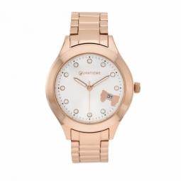 Montre femme, boîte en acier doré rose et cristaux de synthèse, bracelet en acier doré rose et verre minéral