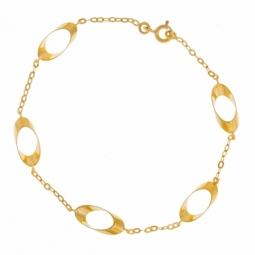 Bracelet en or jaune, motifs ovales ajourés