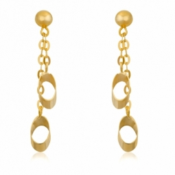 Boucles d'oreilles en or jaune, motifs ovales ajourés
