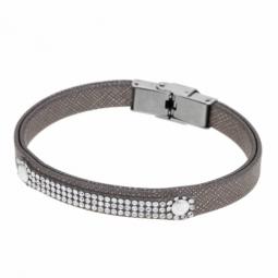 Bracelet en acier, simili cuir et cristaux de synthèse