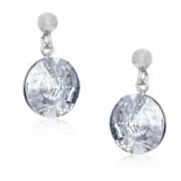 Boucles d'oreilles en argent rhodié et cristal de synthèse